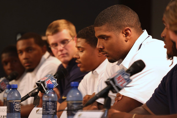 St. Louis Rams draft pick Michael Sam addresses the media with his draft classmates during a press conference at Rams Park on May 13, 2014 in Earth City, Missouri