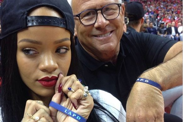 Rihanna and Los Angeles Police Commission President Steve Soboroff
