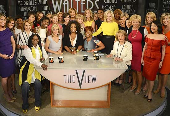 A surprise appearance from Oprah Winfrey leads to one historic, monumental television event when Winfrey does a landmark roll call of introducing 25 incredible female journalists who were influenced by Barbara Walters.  (ABC/ Ida Mae Astute)