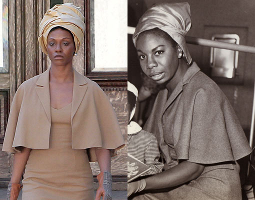 (L-R) Zoe Saldana as Nina Simone in  'Nina', the real Nina Simone