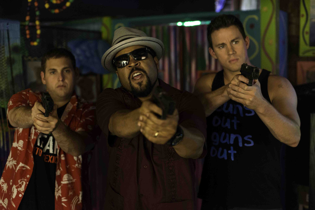 """Schmidt (HILL) and Jenko (TATUM) with Dickson (ICE CUBE) confront the bad guys at Gringo Pendejo's in """"22 Jump Street"""""""