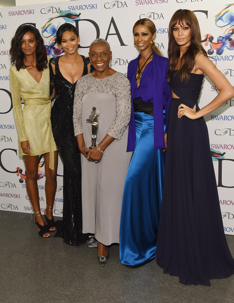 The Founders award in honor of Eleanor Lambert recipient Bethann Hardison (C) poses with Liya Kebede, Chanel Iman, Iman and Joan Smalls at the winners walk during the 2014 CFDA fashion awards at Alice Tully Hall, Lincoln Center on June 2, 2014 in New York City
