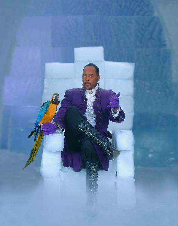 Illusionist Ice McDonald and friend rest on his Ice Throne