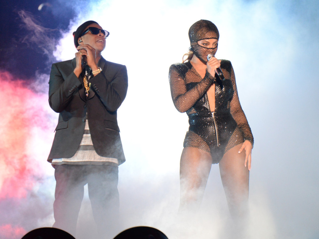 """Jay-Z and Beyonce perform during opening night of the """"On The Run Tour: Beyonce And Jay-Z"""" at Sun Life Stadium on June 25, 2014 in Miami Gardens, Florida"""