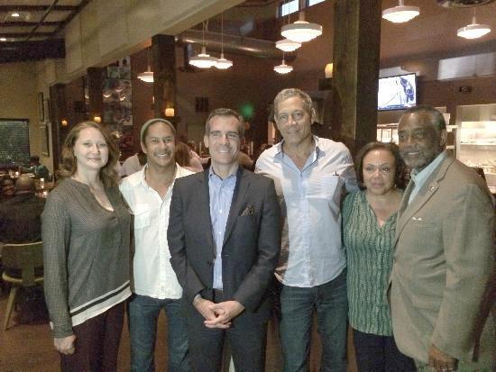 Mrs. Eric Garcetti, Govind Armstrong, LA Mayor Eric Garcetti, Brad Johnson, Mrs. Curren Price, LA Councilman Curren Price