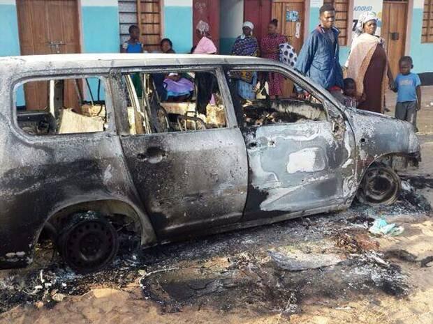 burned bombed car in kenya