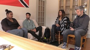 "(L-R) Sammie, Nev, Tracie Thoms and Max on MTV's ""Catfish"""