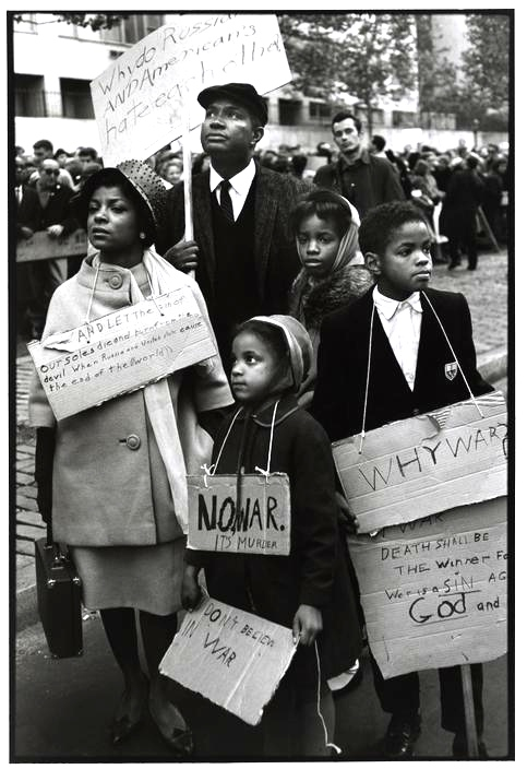 New York City. 1962. Ruby Dee, Ossie Davis, and their children protest at a CORE peace demonstration