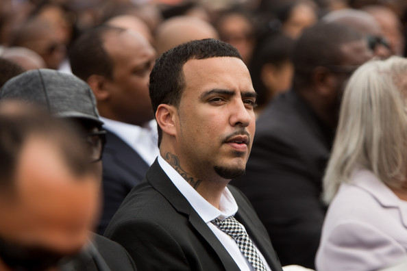 Rapper French Montana watches Howard University's 146th commencement exercises on May 10, 2014 in Washington, D.C.