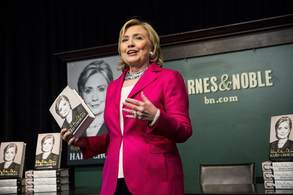 "Former Secretary of State Hillary Clinton speaks to a crowd during a book signing for her new book, ""Hard Choices"" at a Barnes & Noble on June 10, 2014 in New York City"