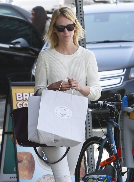 Mad Men' actress January Jones goes to breakfast with her son Xander and a friend on June 8, 2014 in Los Angeles, California