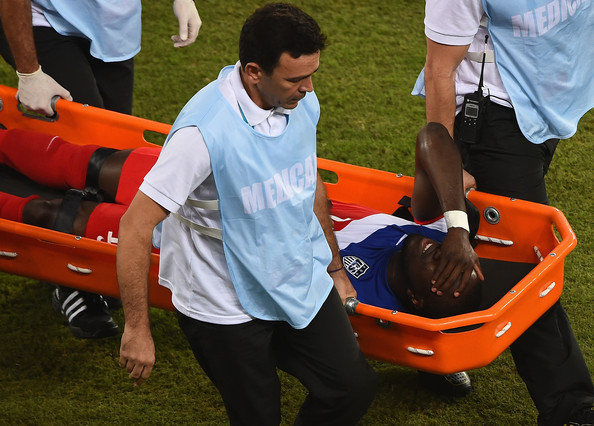 Jozy Altidore of the United States is stretchered off the field after an injury during the 2014 FIFA World Cup Brazil Group G match between Ghana and the United States at Estadio das Dunas on June 16, 2014 in Natal, Brazil