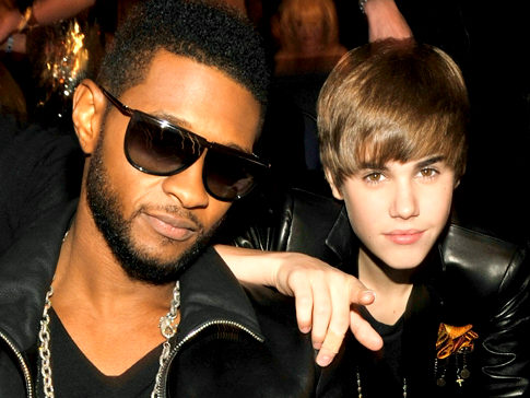 Usher and Justin Bieber in the audience at the 2010 American Music Awards held at Nokia Theatre L.A. Live on November 21, 2010 in Los Angeles