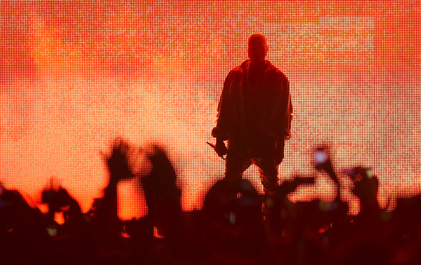Kanye West performs at the Bonnaroo Music & Arts Festival on June 13, 2014 in Manchester, Tennessee