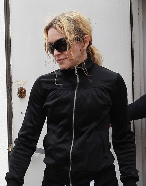 Madonna leaves a dance class with friends on April 17, 2014 in West Hollywood, California