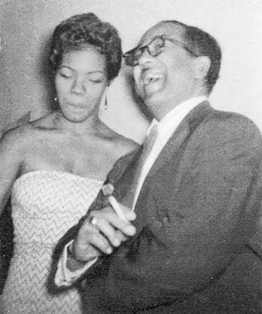 A young, beautiful Maya Angelou with Langston Hughes, not long after her career as a sex worker