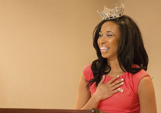 Brittany Lewis speaks after being crowned Miss Delaware at the Dover Downs Hotel and Casino in Dover on Thursday evening, June 26, 2014.