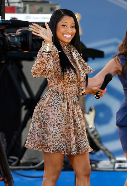 "Singer/rapper Nicki Minaj appears on ABC's ""Good Morning America"" at Rumsey Playfield on June 6, 2014 in New York City"