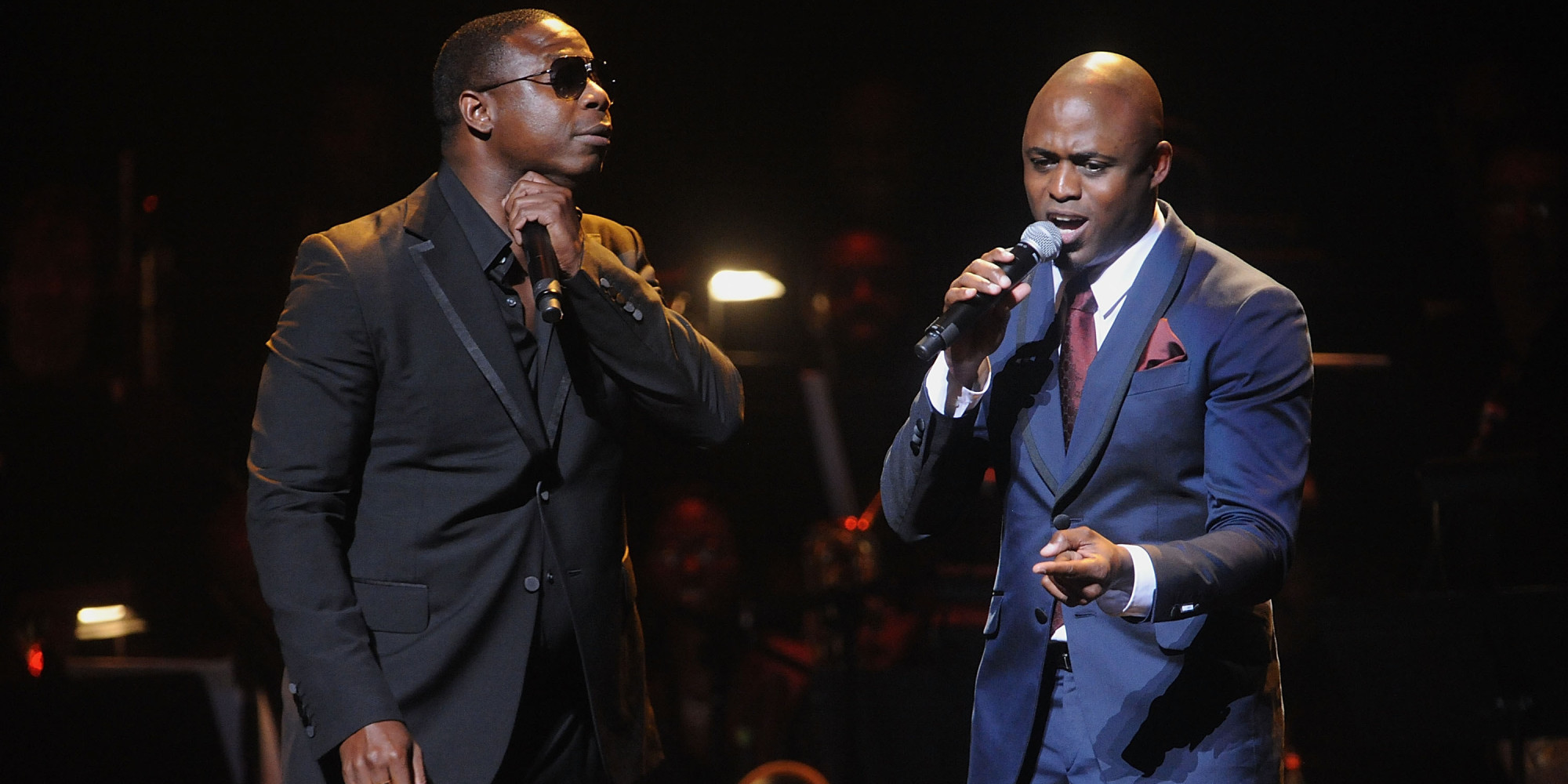 Doug E. Fresh, left and Wayne Brady attend the Apollo Theater Spring Gala and