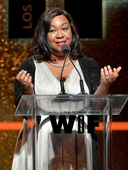 Writer/producer Shonda Rhimes speaks onstage at Women In Film 2014 Crystal + Lucy Awards presented by MaxMara, BMW, Perrier-Jouet and South Coast Plaza held at the Hyatt Regency Century Plaza on June 11, 2014 in Los Angeles