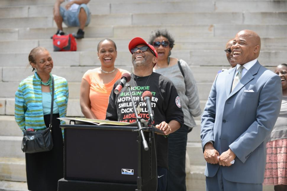 """Spike Lee accepts proclamation from Brooklyn Borough President Eric Adams, who designated June 30 as """"Do the Right Thing"""" Day in honor of the film's 25th anniversary (June 26, 2014)"""
