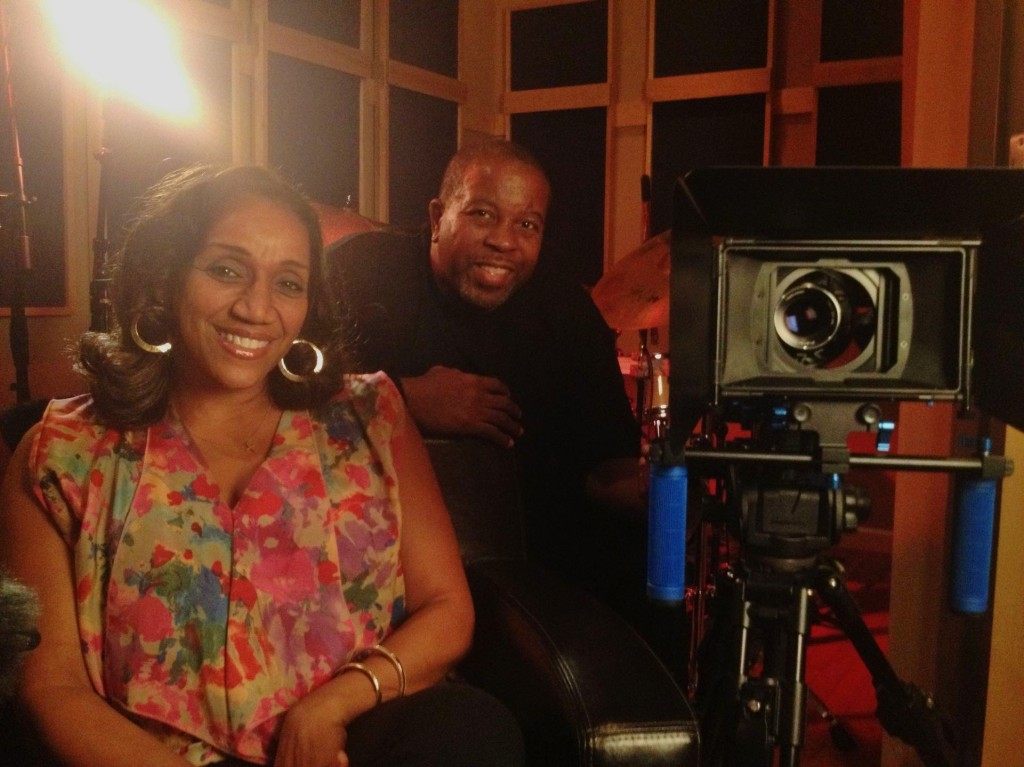 Legendary producer, writer & artist Kashif on set with R&B legend Kathy Sledge as part of 10 part documentary The History of R&B Music