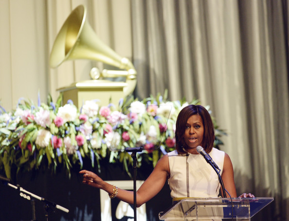U.S. first lady Michelle Obama gives the keynote addresse during Grammy Museum's Jane Ortner Education Award luncheon honoring Southern California-based educator Sunshine Cavalluzzi and six-time Grammy nominee Janelle Monae July 16, 2014, in Los Angeles, California