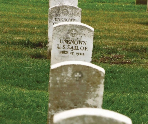 Grave of an unknown sailor who perished July 17, 1944.  Photo courtesy of BHERC.org