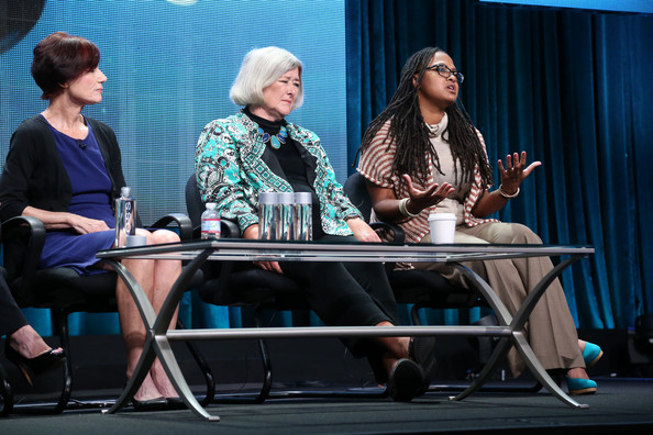 "(L-R) Executive Producer Dyllan McGee, writer Linda Woolverton, former american politician Patricia Nell Scott Schroeder, and filmmaker Ava DuVernay speak onstage during the Makers ""Women in Hollywood"" and Women in Politics"" panel at the PBS Networks portion of the 2014 Summer Television Critics Association at The Beverly Hilton Hotel on July 22, 2014 in Beverly Hills, California."
