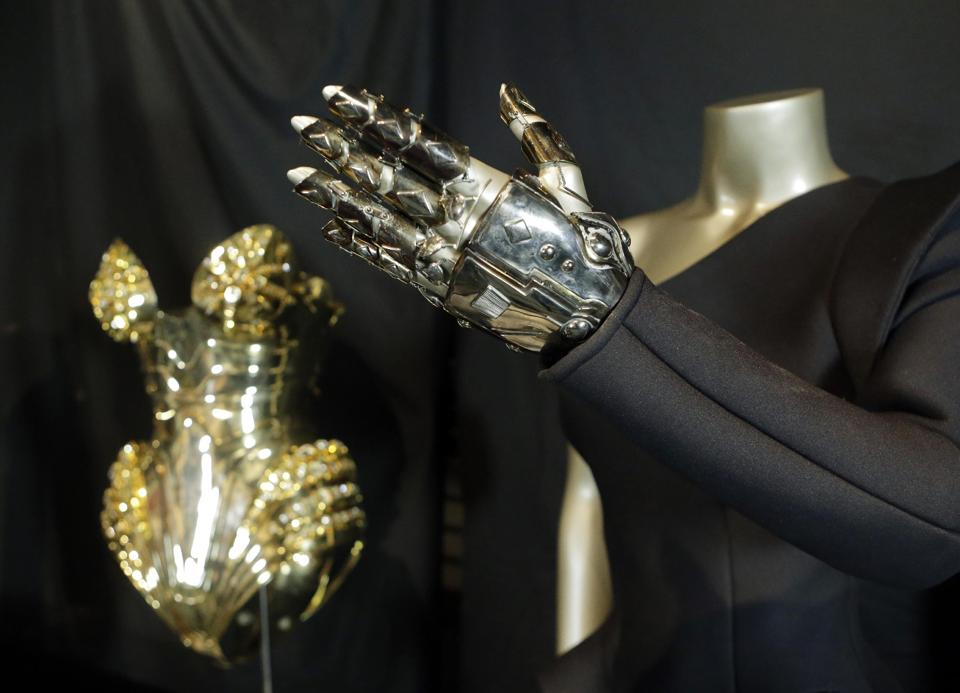"In this Thursday, July 17, 2014 photo, the glove from Beyonce's ""Single Ladies"" outfit is displayed in a new exhibit at the Rock and Roll Hall of Fame in Cleveland."