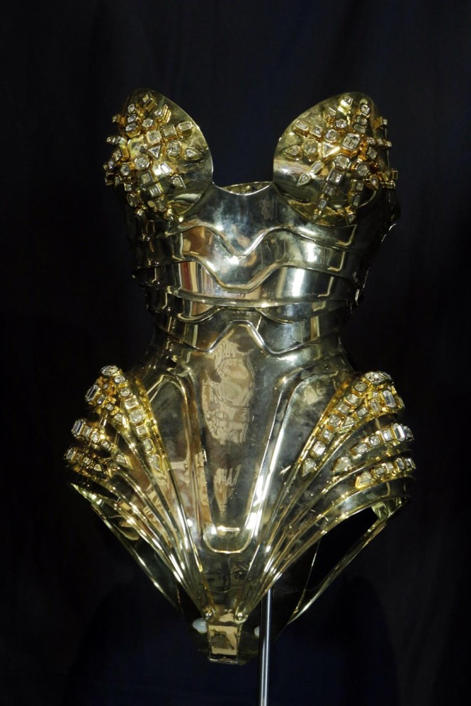 "In this Thursday, July 17, 2014 photo, the metal costume for Beyonce's ""Sweet Dreams"" is displayed in a new exhibit at the Rock and Roll Hall of Fame in Cleveland."
