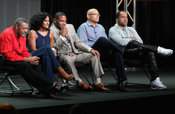 (L-R) Actors Laurence Fishburne, Tracee Ellis Ross, Anthony Anderson, executive producer Larry Wilmore and Creator/executive producer Kenya Barris speak onstage at the 'Black-ish'' panel during the Disney/ABC Television Group portion of the 2014 Summer Television Critics Association at The Beverly Hilton Hotel on July 15, 2014 in Beverly Hills, California