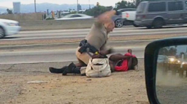 chp beating black woman