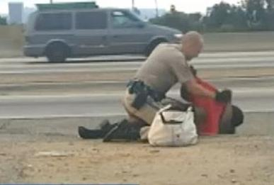 chp officer beating woman