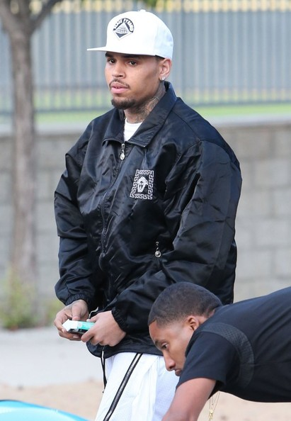 Chris Brown attending the Chris Brown & Quincy 'Kick'n It For Charity' Celebrity Kick Ball Game at the Glendale Sports Complex in Glendale, California on July 19, 2014