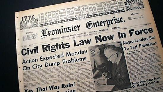 civil rights act 1964 bill signing - newspaper headline