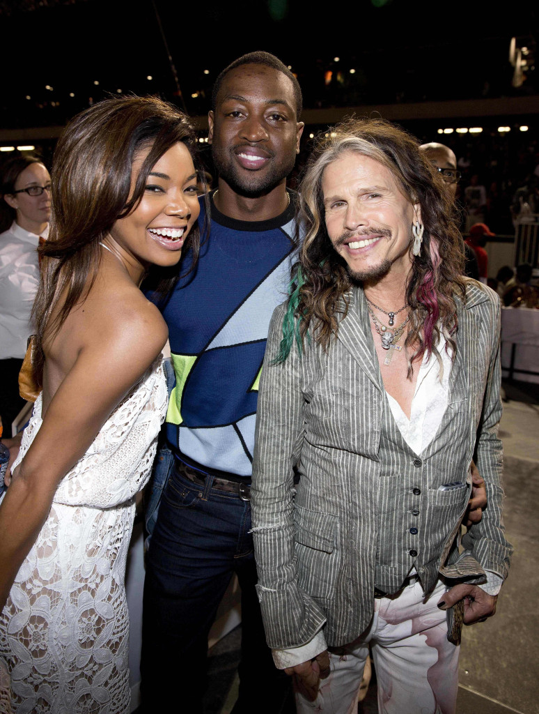 CHICAGO, IL – JULY 24: Gabrielle Union, Dwyane Wade and Steven Tyler attends the D'USSE VIP Riser and Lounge at On The Run Tour Chicago at Soldier Field on July 24, 2014 in Chicago