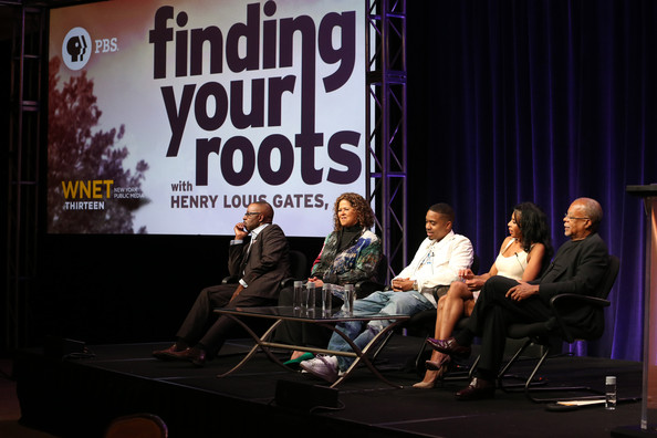 (L-R) Actor Courtney B. Vance, Actress/Playwright Anna Deavere Smith, Recording artist Nas, Actress Khandi Alexander, and Executive Producer, Writer and Presenter Henry Louis Gates, Jr. speak onstage at the 'Finding Your Roots 2 ' panel during the PBS Networks portion of the 2014 Summer Television Critics Association at The Beverly Hilton Hotel on July 23, 2014 in Beverly Hills, California.