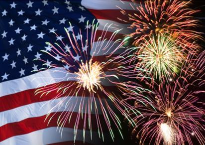 fireworks & american flag
