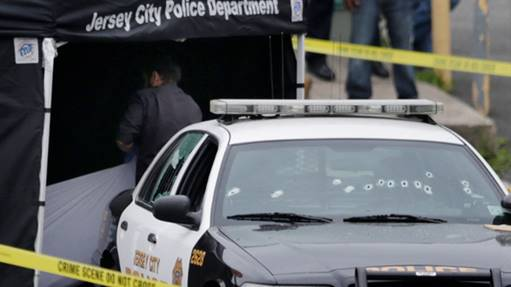 Crime scene where New Jersey Blood gang and police were involved in fatal altercation