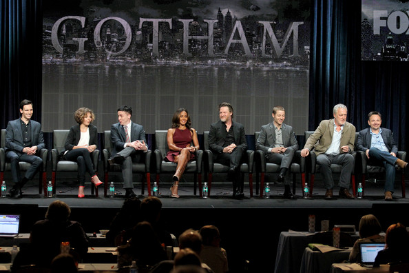 "(L-R) Actors Cory Michael Smith, Camren Bicondova, Robin Lord Taylor, Jada Pinkett Smith, Donal Logue, and Benjamin McKenzie, and producers Bruno Heller and Danny Cannon speak onstage at the ""Gotham"" panel during the FOX Network portion of the 2014 Summer Television Critics Association at The Beverly Hilton Hotel on July 20, 2014 in Beverly Hills, California"