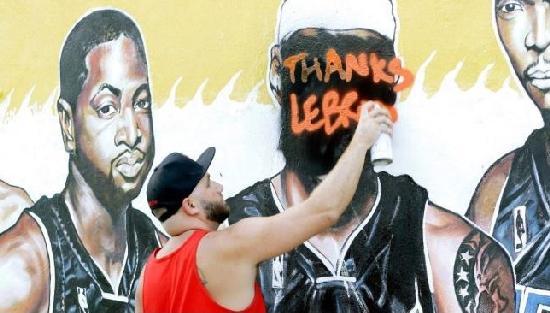 lebron miami mural defaced