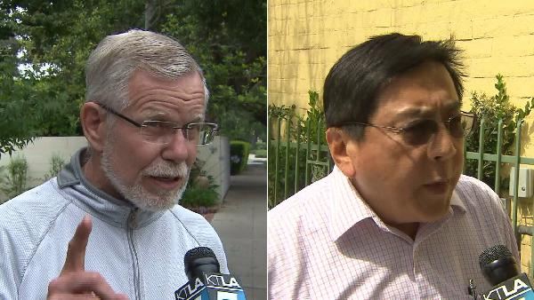 San Marino Mayor Dennis Kneier and neighbor Philip Lao spoke to KTLA about the poop incident on June 10, 2014