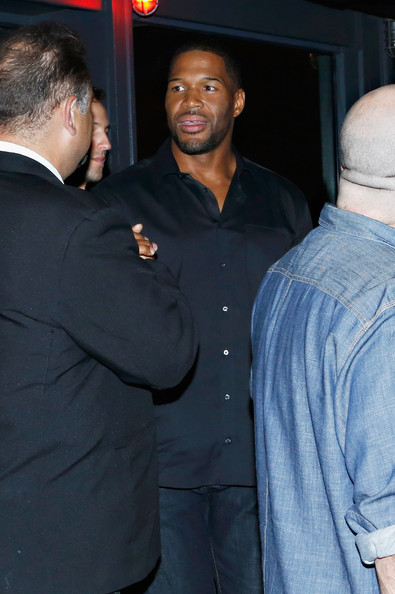 TV personality/ former NFL player Michael Strahan exits Derek Jeter's 40th Birthday Celebration at The Brickwood on June 27, 2014 in New York City