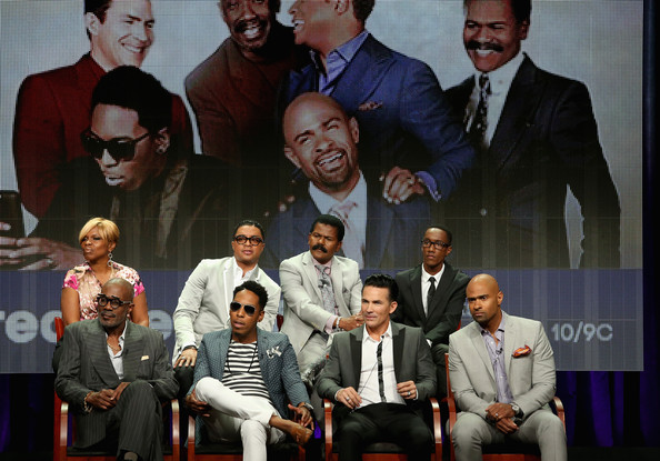(TopL-R) Executive producer Holly Carter, Bishop Clarence McClendon, Bishop Ron Gibson, producer Lemuel Plummer (Front L-R) Bishop Noel Jones, Minister Deitrick Haddon, Pastor Jay Haizlip and Pastor Wayne Chaney speak onstage at the 'Preachers of L.A.' panel during the NBCUniversal Oxygen portion of the 2014 Summer Television Critics Association at The Beverly Hilton Hotel on July 14, 2014 in Beverly Hills, California.