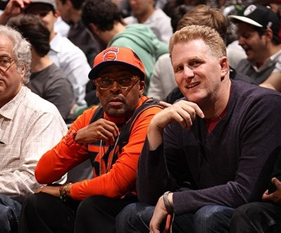 Spike Lee and Michael Rapaport courtside at a Knicks game - in better days