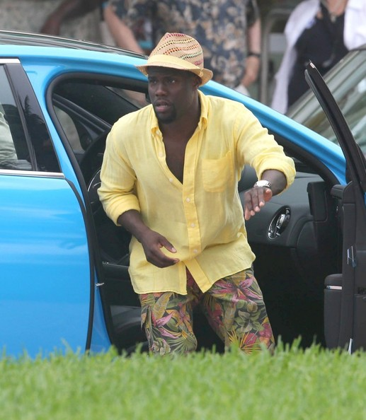 Actors Kevin Hart and Ice Cube film a scene on the set of 'Ride Along 2' on July 7, 2014 in Miami, Florida