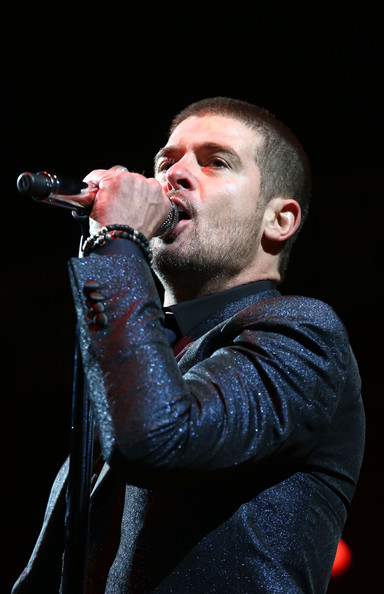 Robin Thicke performs on stage at Wireless Festival at Finsbury Park on July 6, 2014 in London, United Kingdom