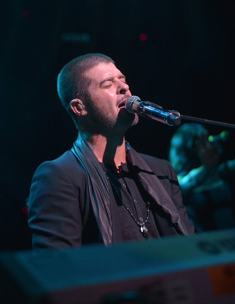 Robin Thicke performs songs from his new album PAULA at album release party at 1Oak LA on June 26, 2014 in West hollywood, California. PAULA will be released on July 1, 2014 on Star Trak/Interscope