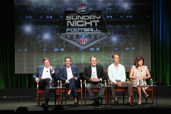 (L-R) NBC Sports Group Chairman Mark Lazarus, Coordinating producer Fred Gaudelli, On-air talent Al Michaels, Cris Collinsworth and Michele Tafoya speak onstage at the 'Sunday Night Football' panel during the NBCUniversal NBC Sports portion of the 2014 Summer Television Critics Association at The Beverly Hilton Hotel on July 14, 2014 in Beverly Hills, California